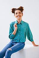 Бирюзовая детская блуза для девочки в размерах 8-12 лет рост 146, 152, 158, 164