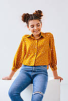 Красивая и стилная блуза для девочки-подростка 8-12 лет горчичного цвета с принтом 146, 152, 158, 164