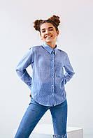 Детская повседневная рубашка для девочки подростка джинсового цвета рост 146, 152, 158, 164