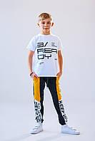 Детские спортивные штаны  Тер 4913 140 черный/желтый