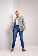 Женский классический пиджак в клетку с карманами S, M