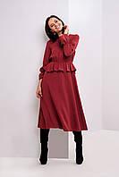 Вечернее нарядное женское платье марсала из легкой ткани размеры