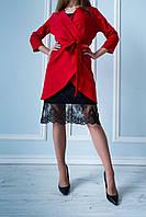 Стильный яркий костюм двойка с платьем АВА красного цвета