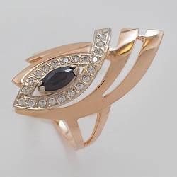 Золотое кольцо с чорным  фианитом. КП1488