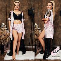 Женский  велюровый домашний комплект-пижама (3 вещи). Цвета!, фото 1
