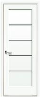 Межкомнатное полотно Мира Белый матовый 800 мм со стеклом BLK (черное), ПП Премиум.
