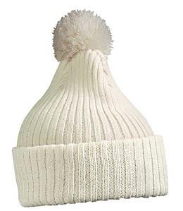 Зимняя шапка с помпоном  MWHT Белый