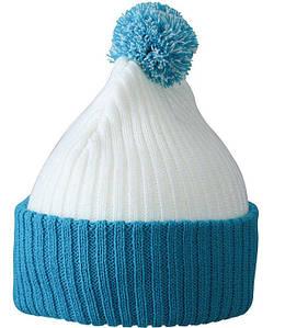 Зимняя шапка с помпоном  MWPC Белый / Ультрамарин