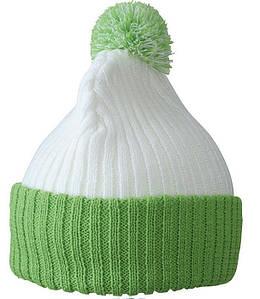 Зимняя шапка с помпоном  MWFG Белый / Ярко-Зелёный