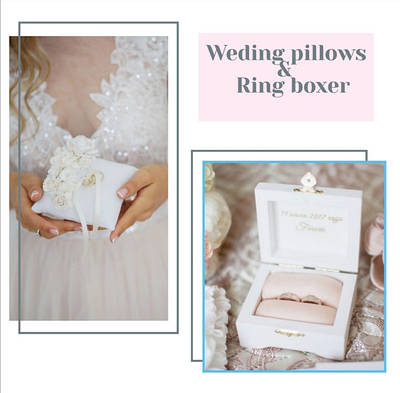 Подушечки, скриньки для обручок на весілля
