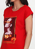 Футболка женская красная с рисунком Carla Mara,S,M,L,XL, фото 3