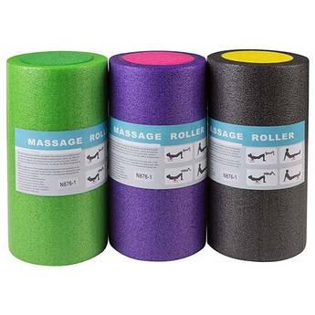 Ролик (валик, роллер) для йоги, пилатеса, фитнеса, массажа 30 х 14,5 см., фиолетовый, салатовый, черный