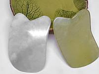 Скребок Гуаша из нефрита прямоугольный с выемкой (овал)