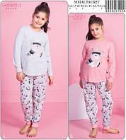 Пижама детская для девочки (футболка длинный рукав рукав+штаны),,х/б, ПАК/5шт (5/6-7/8-9/10-11/12-13/14 лет) Vienetta
