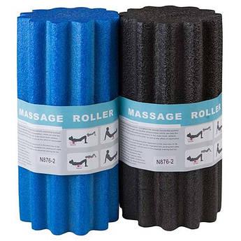 Массажный ролик (валик, роллер) с ребрами для йоги, пилатеса, фитнеса, массажа 31х14,5 см. синий, черный