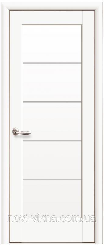 Межкомнатное полотно Мира Белый матовый 800 мм со стеклом сатин, ПП Премиум.