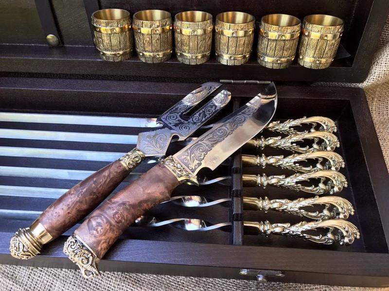 """Ексклюзивний набір для шашлику """"Морський бриз"""", шампура+чарки+ніж+вилка"""