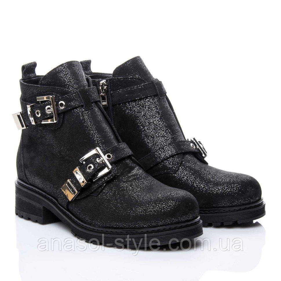 Ботинки La Rose 2156 36(24см ) Черная замша блеск