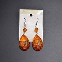 Серьги  из синтетического янтаря, оранжевые, длина со швензой  6,5 см