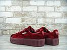 Женские кроссовки Puma Rihanna Fenty Velvet Bordo, фото 3
