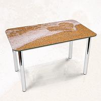 Виниловая наклейка на стол Романтическая волна песок ламинированная пленка, 600*1200 мм, текстуры, бежевый