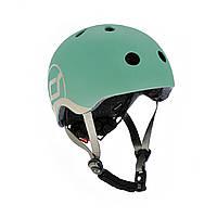 Шолом захисний дитячий Scoot and Ride, сіро-зелений, з ліхтариком, 45-51см (XXS/XS)