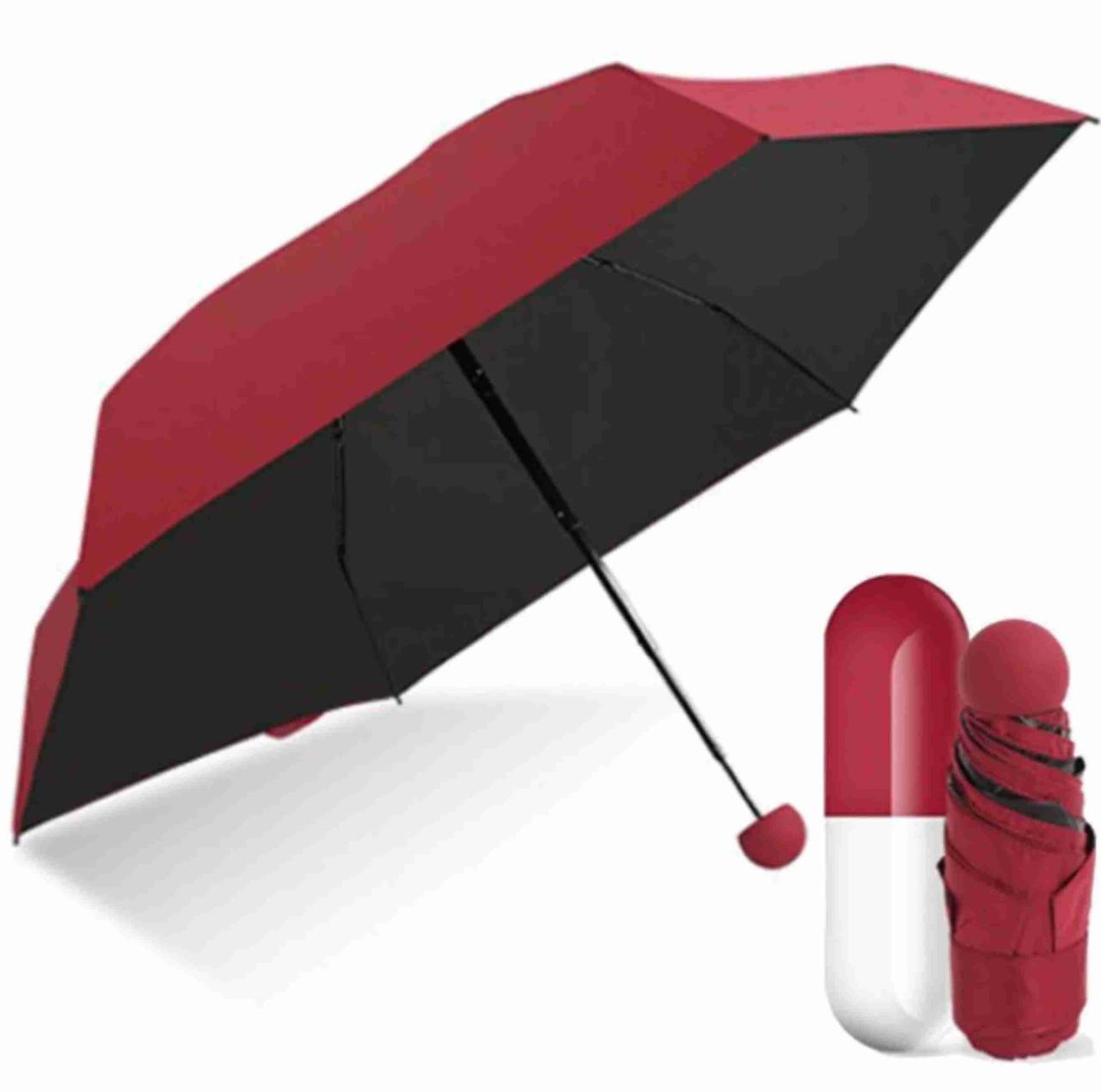 Зонтик одноцветной Зонтик-капсула, Бордовый Складной механический зонт, Мини зонт капсула, карманный зонт