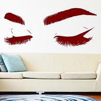Интерьерная виниловая наклейка на стену Реснички (наклейки люди, глаза, брови ресницы для салона красоты декор