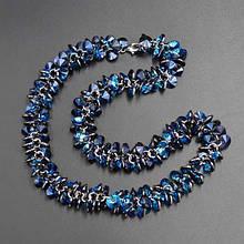 Колье синий цирконий с серебряной застежкой, длина 44 см