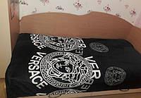 Плед-покрывало с брендовым логотипом черный, из микрофибры, 160*220, 200*220
