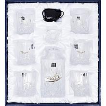 """Подарочный набор хрустальный графин, бокалы и камни для виски в кожаном футляре """"Рыбак"""""""