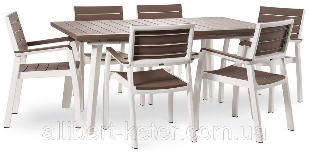 Набір садових меблів Harmony Fiesta Set 6 Cappuccino Brown ( капучіно коричневий ) ( Allibert by Keter )