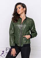 Молодежная женская легкая куртка-бомбер на молнии с карманами хаки