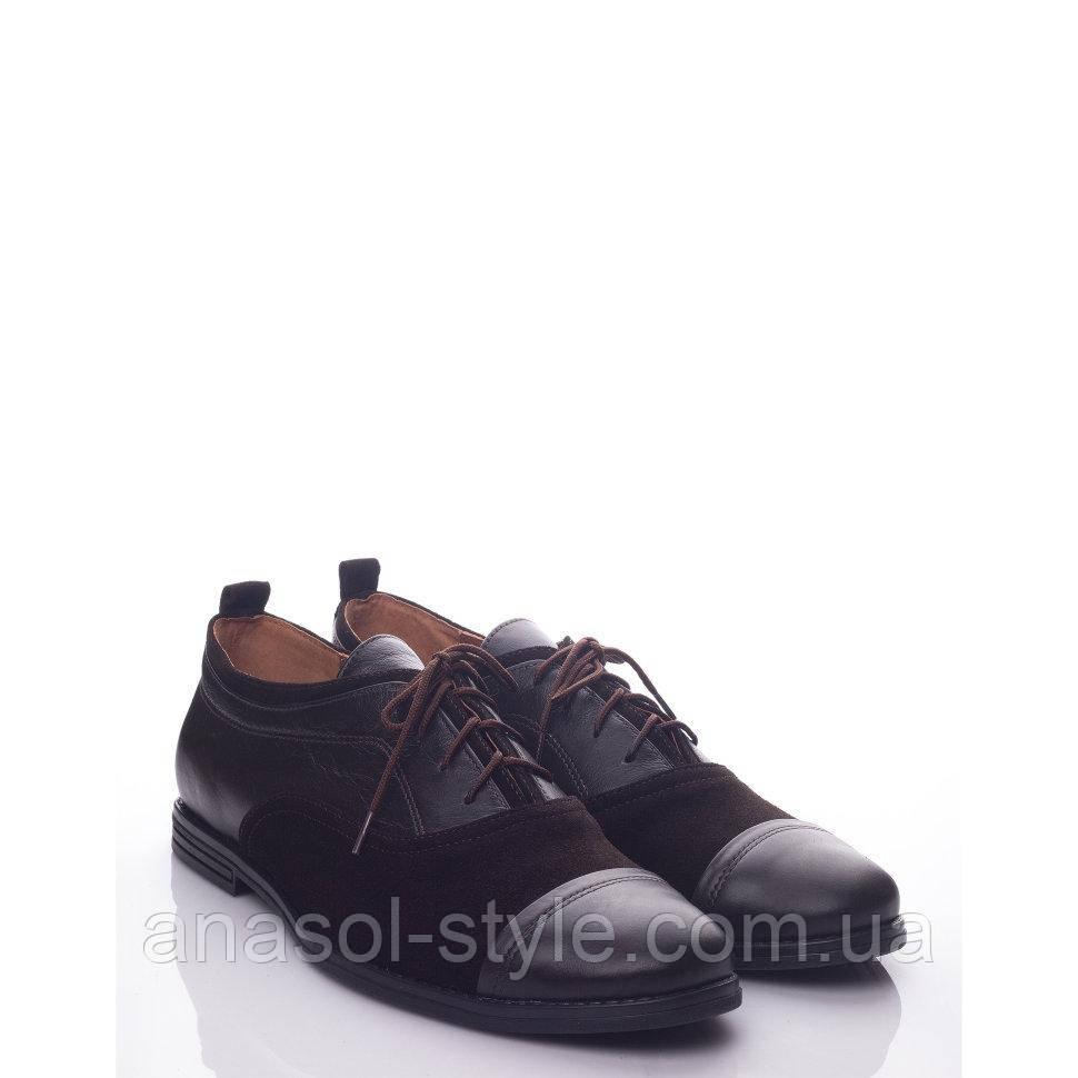 Туфлі La Rose 1005 40(27,7 см) Коричнева шкіра, замша