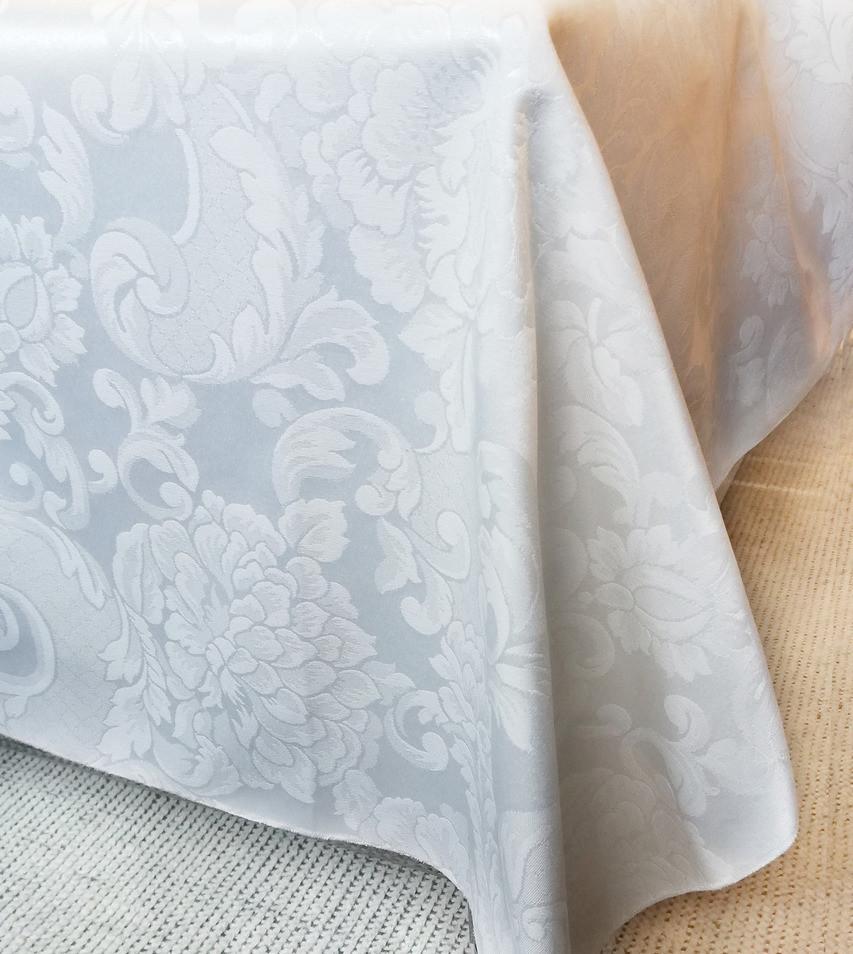 Ткань Скатертная TS-360354 Цветы 360см Белая Италия