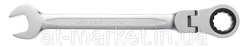 Ключ комбинированный шарнирный с трещоткой 12 мм, 72T, сталь Cr V HOEGERT HT1R052