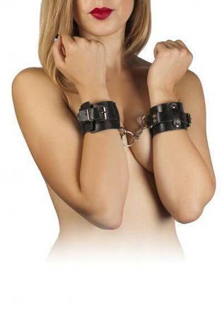 Наручники Leather Dominant Hand Cuffs, black, фото 2