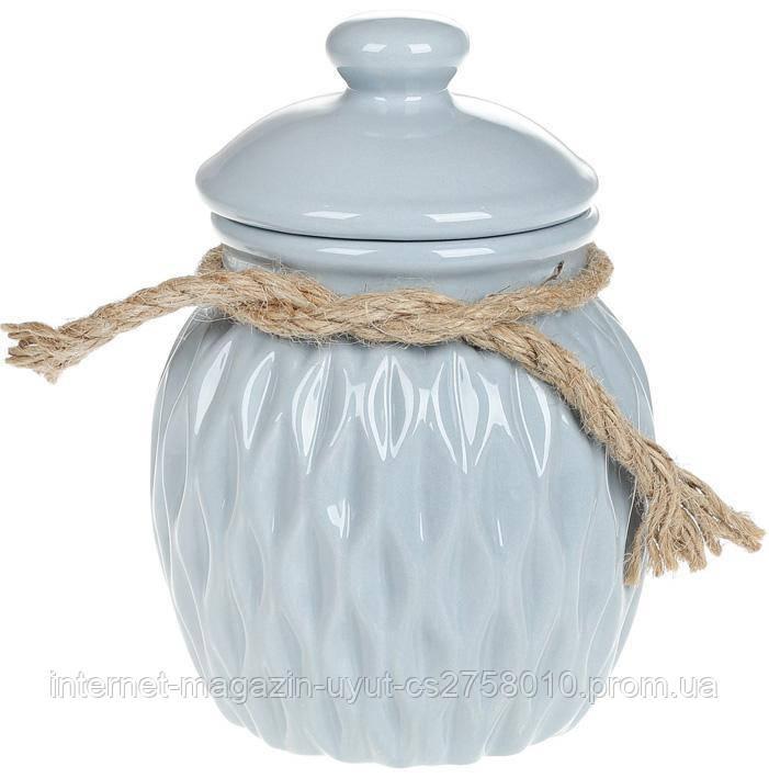 Банка керамическая Stone Flower для сыпучих продуктов Ø12.5х17.5см, голубая