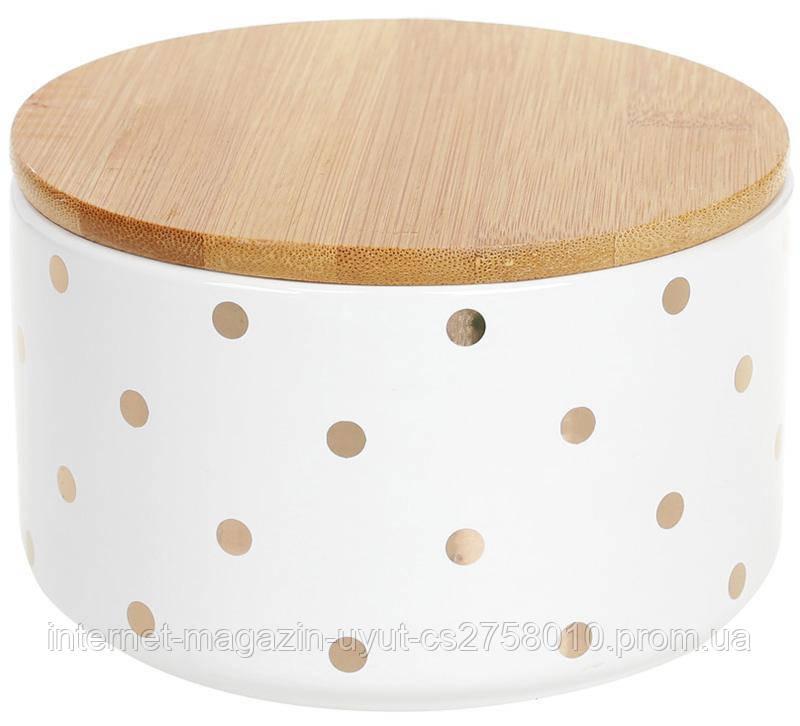 """Банку Merceyl """"Золотий Горох"""" 800мл керамічна з бамбуковою кришкою, біла"""