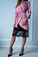 Весенний комплект двойка кардиган+платье с кружевом АВА розового цвета