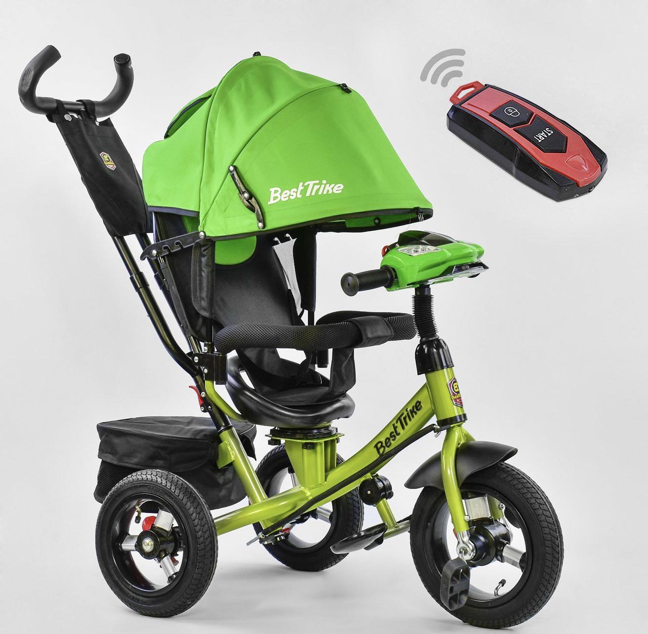 Детский трёхколёсный велосипед 7700 В  Best Trike Салатовый поворотное сиденье фара с ручкой