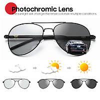 Очки солнцезащитные фотохромные авиатор VIVIBEE V3056 черные хамелеоны