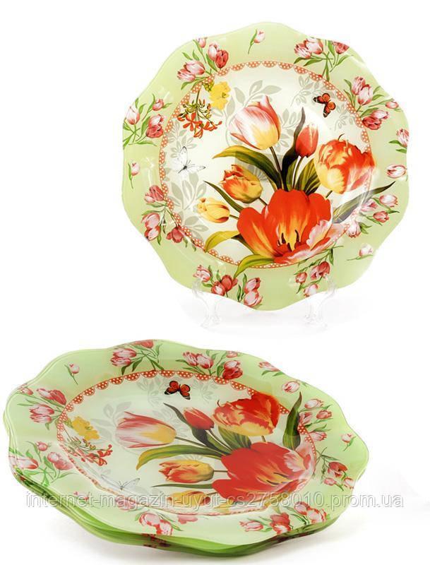 """Набор 6 стеклянных тарелок """"Тюльпаны"""" Ø20см, десертные тарелки"""