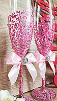 Свадебные бокалы Diamond. Цвет розовый.