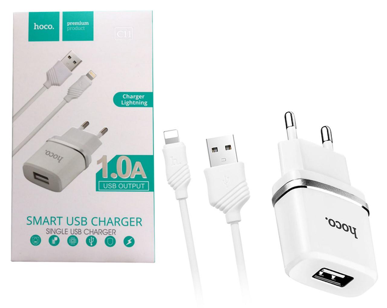 Сетевое зарядное устройство Hoco C11 (USB) + Кабель Lightning Белый