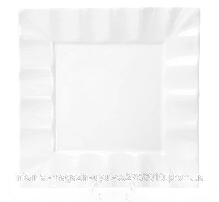 "Набор 6 фарфоровых тарелок ""White City Волна"" 20х20см (белый фарфор)"