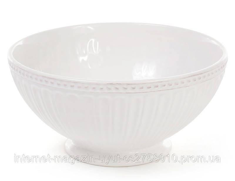 Набор 4 керамические пиалы (миски) Stone Flower 750мл, белые