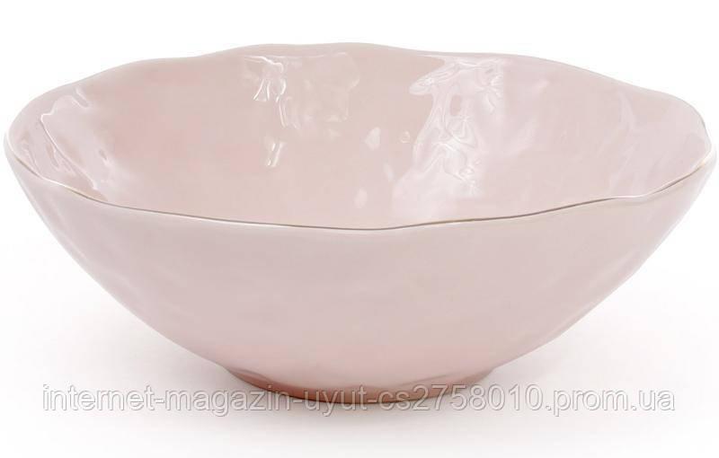 Набор 4 салатника керамических Bergamo 1.1л, розовый