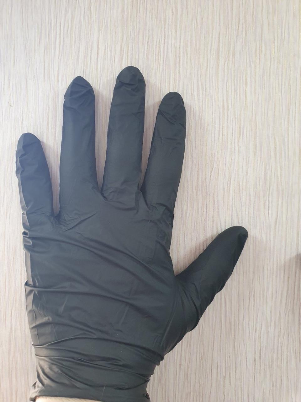 Черные нитриловые перчатки неопудренные 50 пар