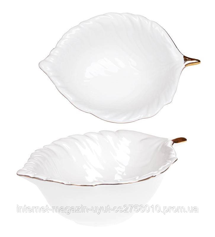 "Набор 4 пиалы Bergamo ""Лист"" 250мл, белый цвет"